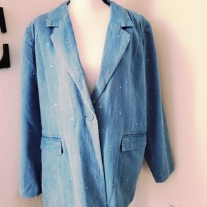 Quacker Factory Multi Sparkle Denim Blazer Sz XL